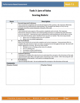 PBA Grade 7.5 task sample rubric